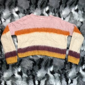 Hippie Rose Crop Striped Sweater Boho Warm Colors